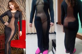 Chinese woman posts ill fitting cut out dress that reveals more than she bargained for