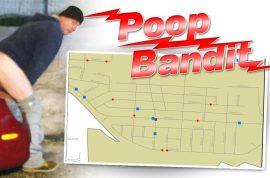 Akron cops seek serial pooper. Caught defecating on car.