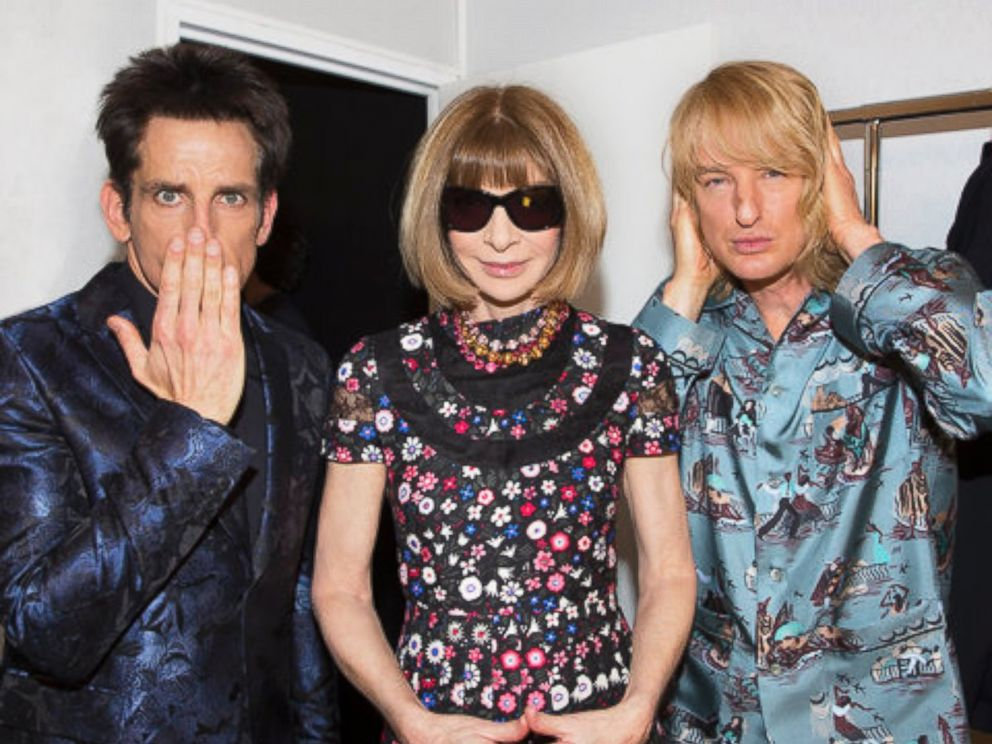 Ben Stiller and Owen Wilson walk in Valentino show