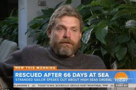 Louis Jordan, sailor cast out to sea 66 days survived off raw fish, rain water.