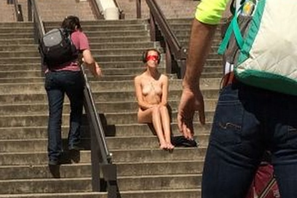Naked Texas Student