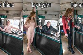 Photos: Liana Klevtsova models naked in Siberia winter protest