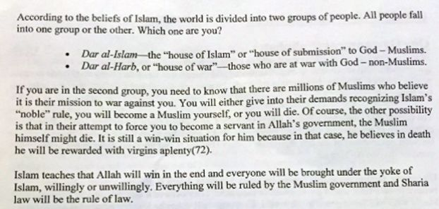 Teacher hands out anti Muslim propaganda