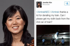 Amtrak's Jennifer Kim violin: booed off internet for being insensitive bixch