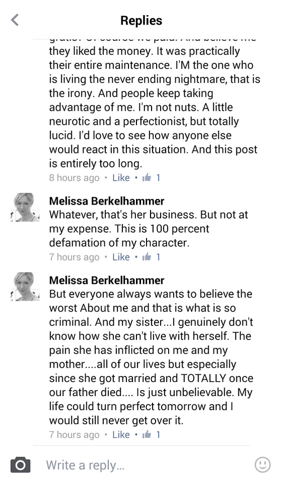 Melissa Berkelhammer dead