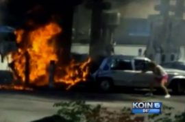 Phillipe Bittar saves woman's life whilst bystanders video tape burning car