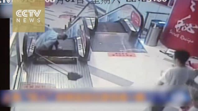 Shanghai shopping mall cleaner leg ripped off escalator