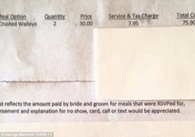Bride sends wedding guest gets $75 bill