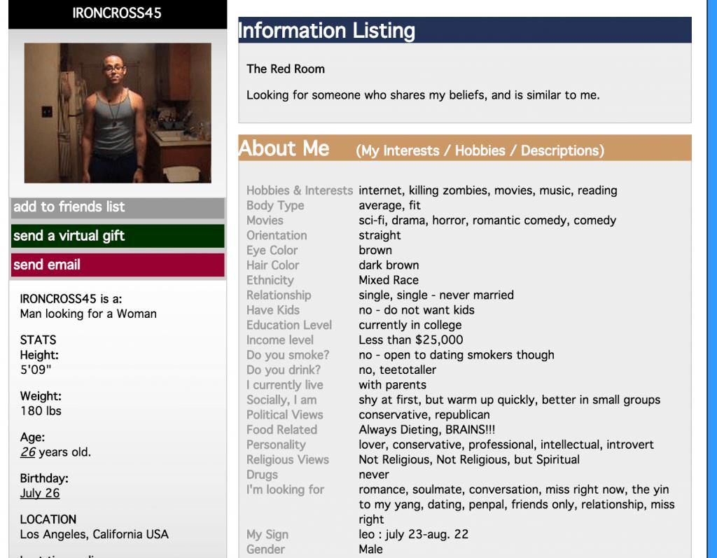 Chris Harper Mercer online dating profile