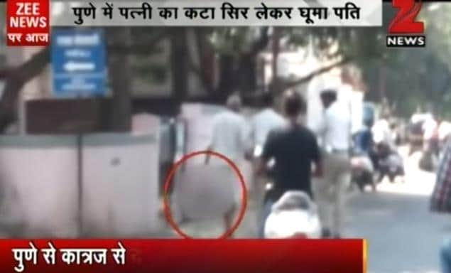 Pune Indian man carries cheating wife's head during stroll