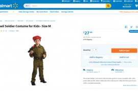 Will you buy it? Walmart sells Israeli kid soldier costume for Halloween. Toy machine gun included