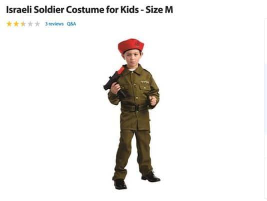 Walmart sells Israeli kid soldier costume for Halloween
