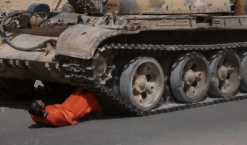 ISIS tank execution Syrian prisoner