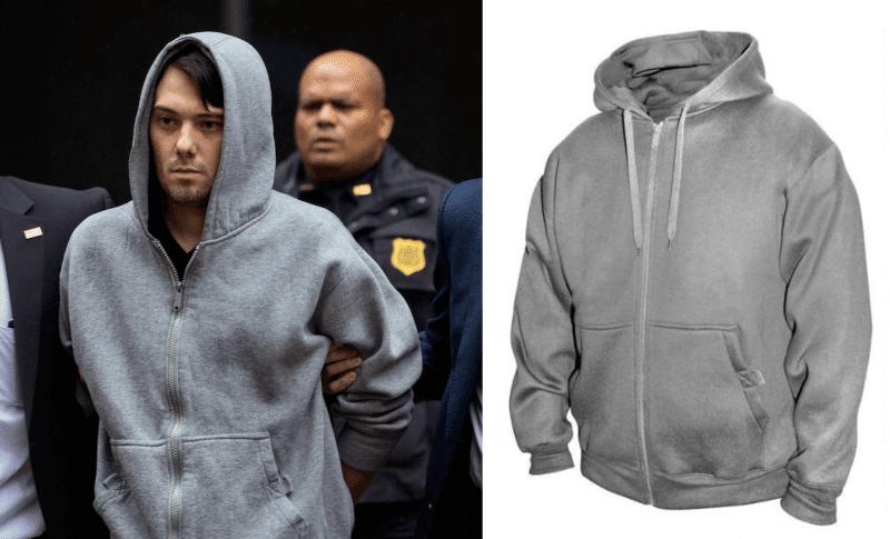 Martin Shkreli perp walk arrest hoodie