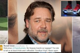 'You're a wanker' Russell Crowe Virgin Australia twitter hoverboard rant leads to dissing