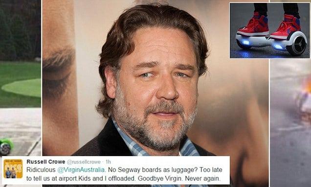 Russell Crowe Virgin Australia twitter hoverboard