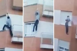 Video: Idiot Ecuadorian man locked out plunges 30ft to his death