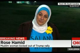 'You have a bomb' Rose Hamid Muslim woman in hijab thrown out by Donald Trump