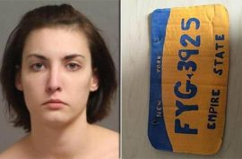 Amanda Schweickert busted driving with clever cardboard license plate
