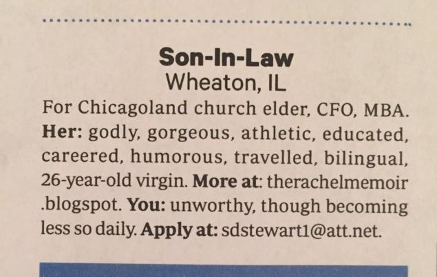 Dad places marriage ad in Christian magazine