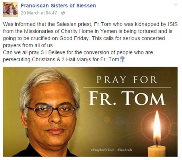 Pictured Father Tom Uzhunnalil
