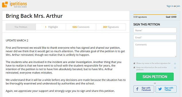 Leigh Anne Arthur petition