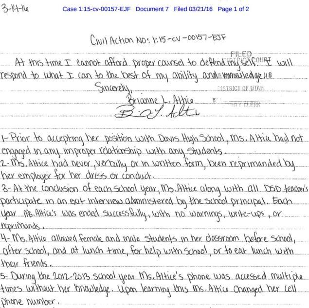Brianne Altice files letter