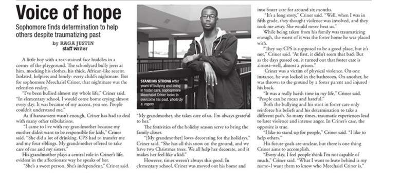 Meechaiel Criner had appeared in a school paper interview