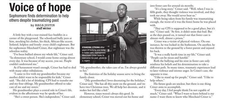 Meechaiel Criner had appeared in a school paper interview