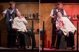 Foul play? New Zealand Sweeney Todd razor blade scene theater horror