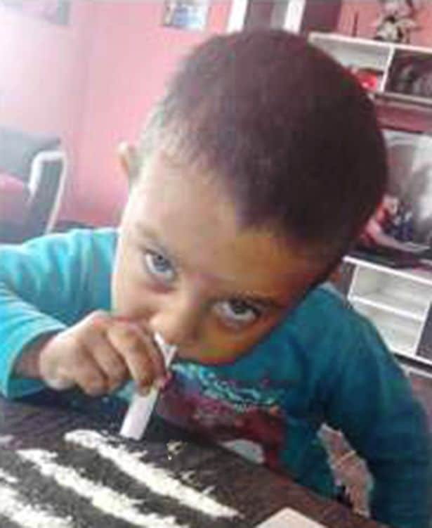Three year old Bulgarian boy snorting cocaine