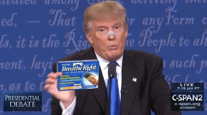Donald Trump debate sniffles cocaine