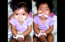Why? Mexican baby girl gagged and tied up posted on Facebook by babysitter