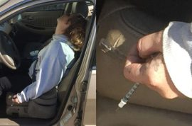 Needle stuck in arm: Erika Hurt Indiana heroin mom slumped with baby in backseat