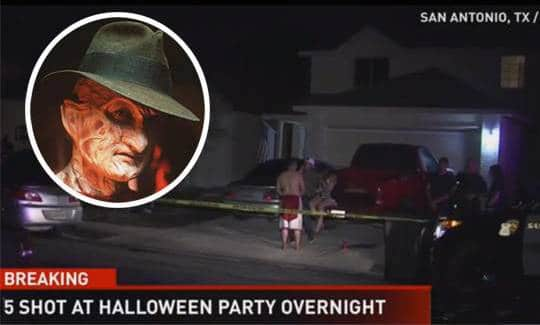 Freddy Kruegger crashes Texas Halloween party
