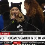 Women's March against Donald Trump. Pictured, Madonna addressing gathered protesters.