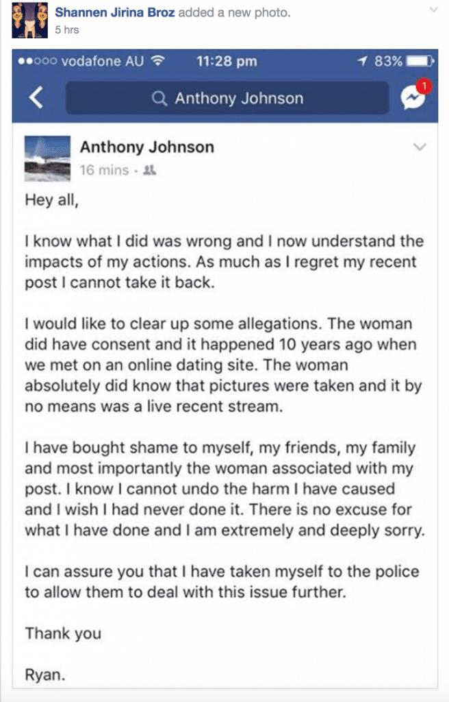 Ryan Hefford Australian Facebook mens forum posting