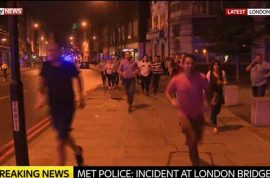 London Bridge attack: White van runs into pedestrians, 3 men get out slashing, 6 dead, 30 injured
