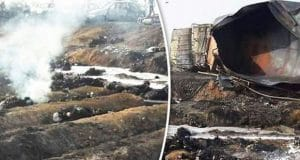 Overturned Pakistan oil tanker