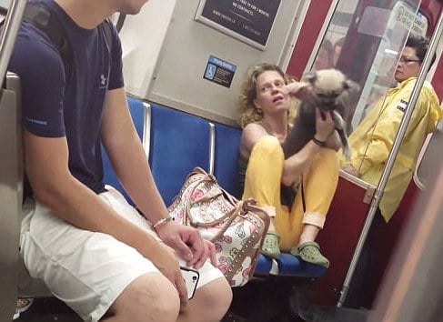 Toronto subway woman biting her dog