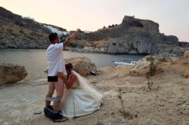 'No regrets' Matthew and Carly Lunn British newlyweds have sex in front of Greek Rhodes Monastery