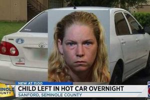Florida mom leaves 3 year old in hot car overnight while making liquor store run.