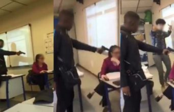 French student points gun at teachers head
