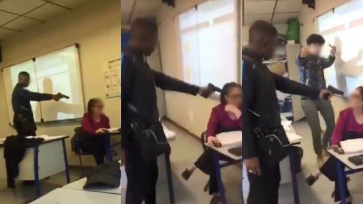 French student points gun at teacher's head