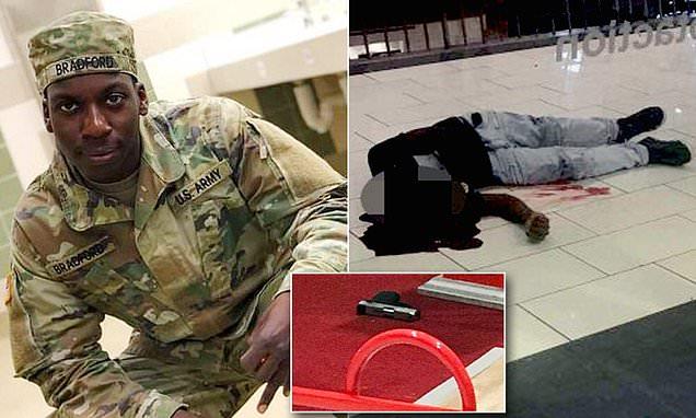 Emantic Fitzgerald Bradford Jr., ozbrojený civilista zastřelený policistou při zásahu v obchodním domě v Hooveru, Alabamě. Zatímco policisté slavili nad jeho mrtvolou úspěšný zásah, tak opravdový vrah se vytratil v davu.