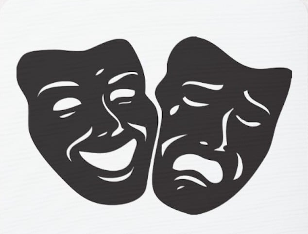Two masks, representing comedy and drama.