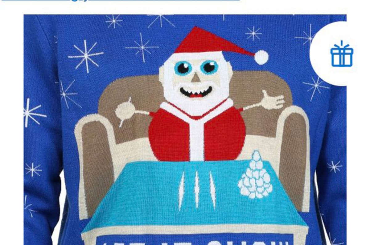Walmart Santa sweater doing coke