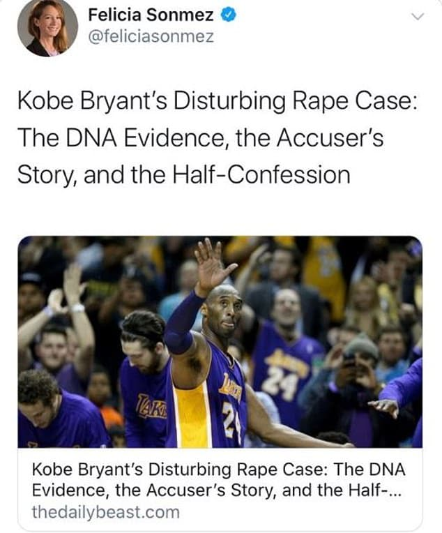 Felicia Sonmez Koby Bryant rape tweet