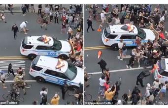 NYPD cas ram protestors.