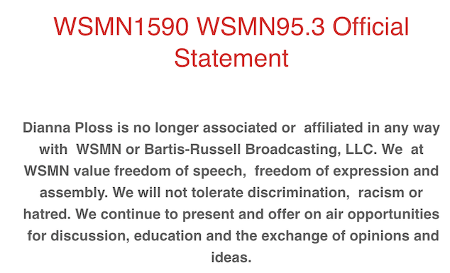 Racist WSMN radio host fired